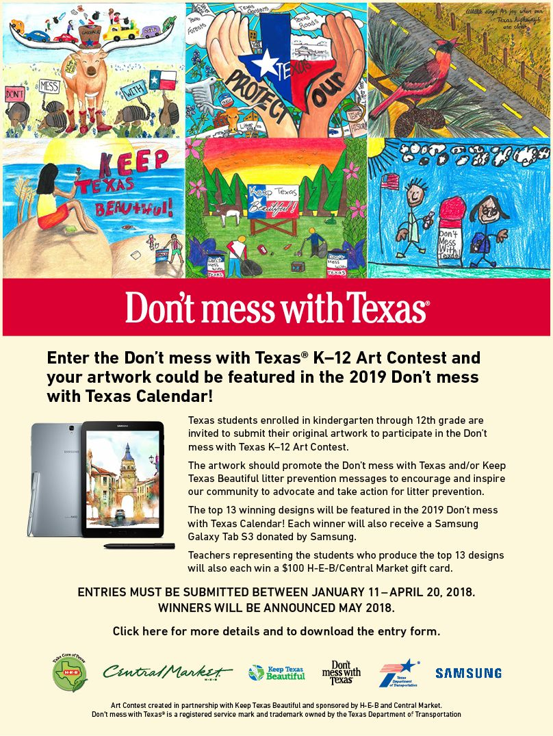 Dont mess with texas art contest youth programs art contest entry form art contest rules litter fact sheet falaconquin