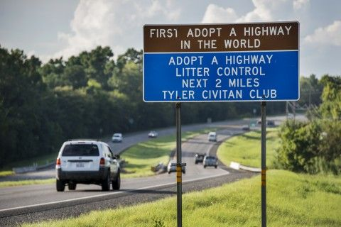 First adopt-a-highway sign in Tyler, TX