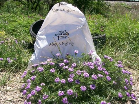 Don't mess with Texas Adopt-a-Highway trash bag in flowers