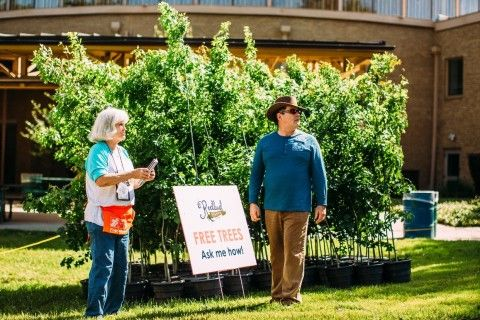 2 people in front of large bushel of planted small trees with sign that says 'Free Trees'