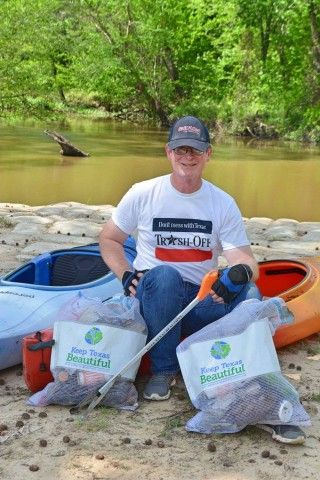 River cleanup with canoes