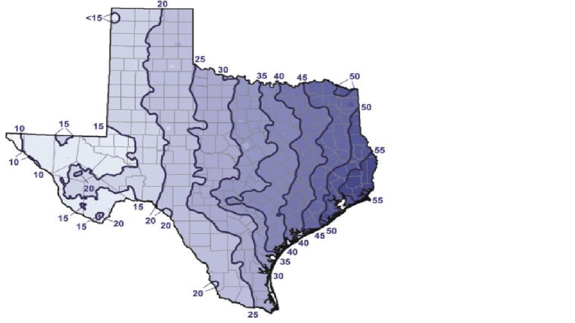 Texas Average Annual Precipitation