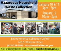 Mansfield Hazardous Household Waste Drop off - 10:00am - 3:00pm